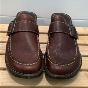 Born brown leather mules